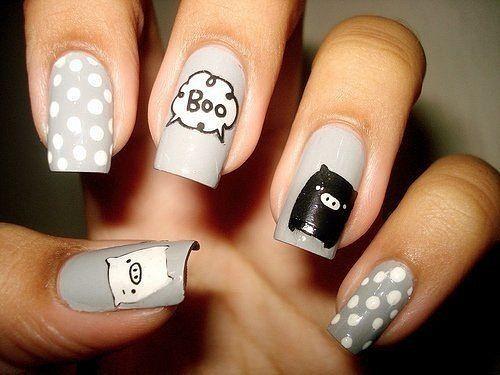 grey nail design