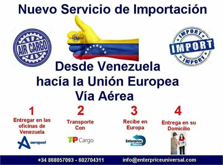 Trae tus cosas desde Venezuela a cualquier país de la Unión Europea, aceptamos pagos en bolivares o euros. +34602704311 - 868057093