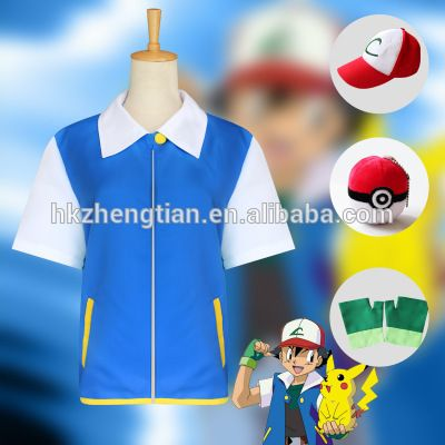 Ecoparty Pokemon Ash Ketchum Trainer Cosplay Costume Jacket outfit glove hat caps