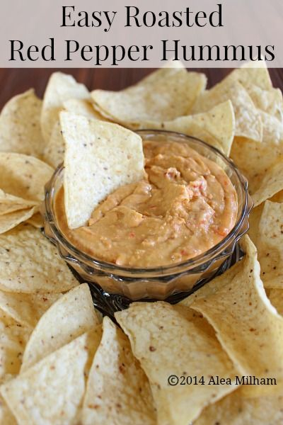 Easy Roasted Red Pepper Hummus Recipe - This easy roasted red pepper hummus recipe is made without tahini. It uses canned garbanzo beans and canned peppers.
