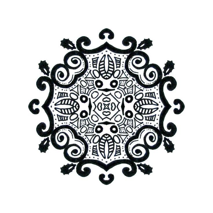Black and white ink mandala, by Lindsay Kokoska