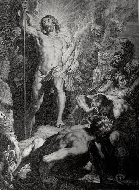 Christ's earthly ministry in the Phillip Medhurst Bible 497 of 550 The Resurrection Matthew 28:2-4 after Rubens on Flickr. A print from the Phillip Medhurst Collection at St. George's Court, Kidderminster.
