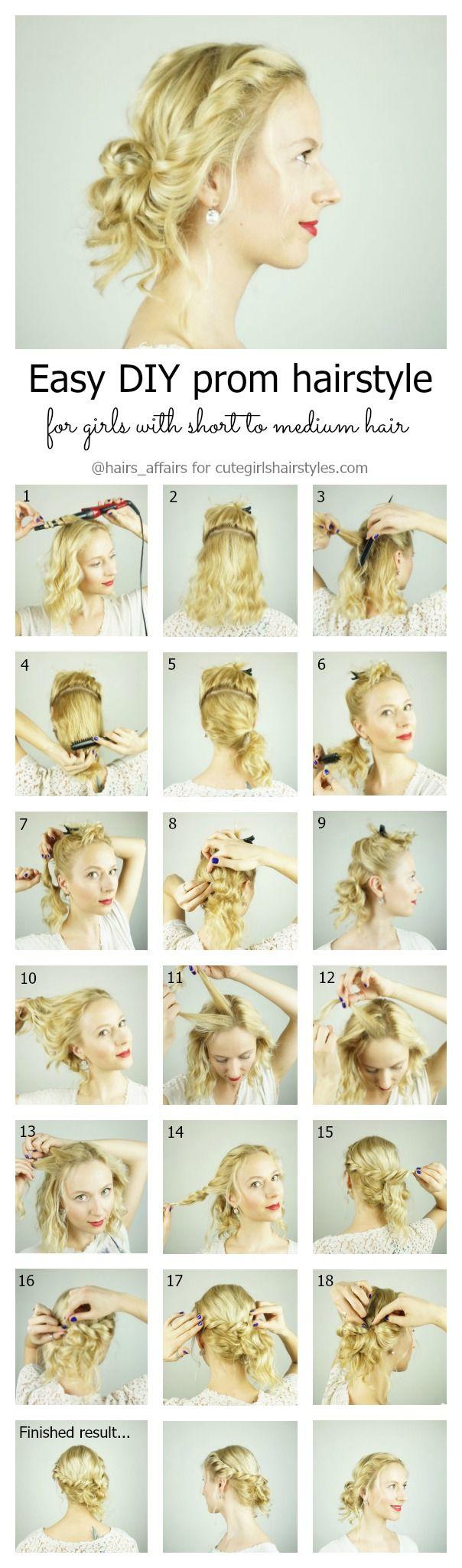 Einfache DIY Abschlussballfrisur für Mädchen mit kurzen bis mittleren Haaren mit Schichten