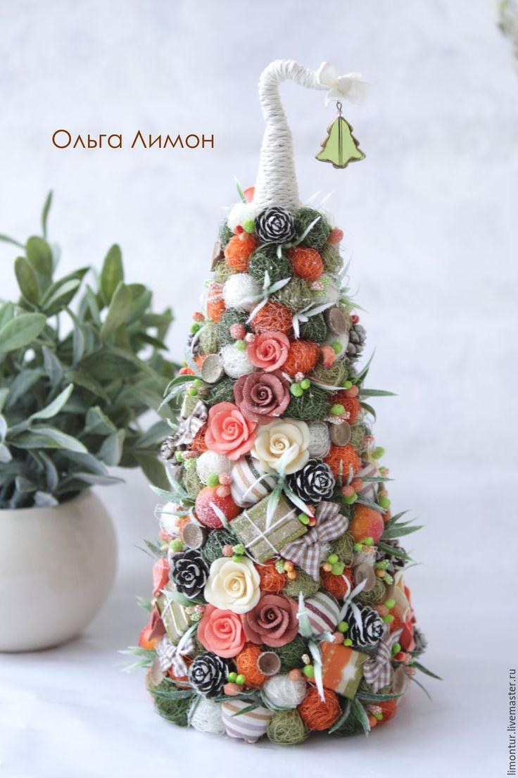 """Купить Елка """"Малимарси"""" - Новый Год, елка, апельсин, оранжевый, розовый, рыжий, топиарий"""