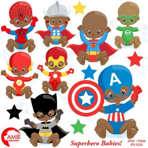 Superhero baby. Babies clipart super hero