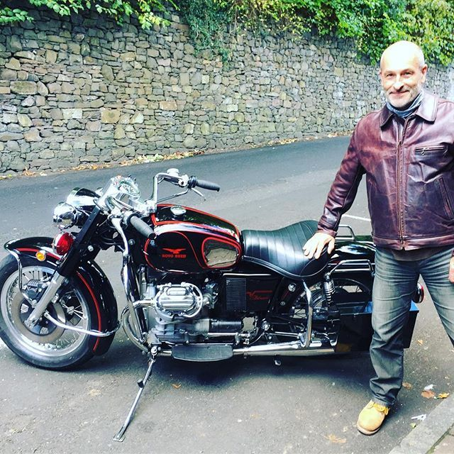 Factory visitor Stephen in his newly purchased Highwayman from our pre owned range. Stephen was riding a stunning 1974 Moto Guzzi Eldorado 850 Californian import. #aeroleather #aeroleatherclothing #vintageleatherjacket #usedaero #motoguzzi #motoguzzieldorado #caferacer #caferacersofinstagram #madeinscotland