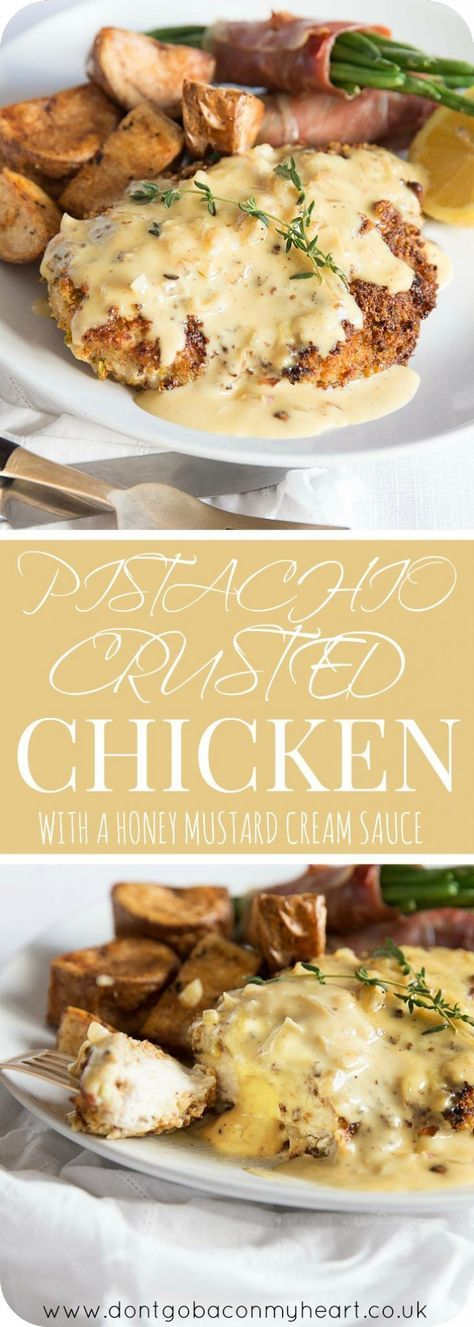 Pistachio Crusted Chicken with a Honey Mustard Cream Sauce