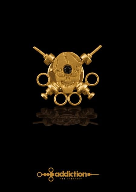 Skull Pin, stuck with syringes, depicting the outcome of drug use. Gold Plated Brass-Black Diamond 0.08 ct.Click to find more jewellery pins!  #style #design #ideas #jewellery #addictionbystratis #voyjewellery #trends #fashion  #stratis #stratisvoyiatzis #stratisvogiatzis