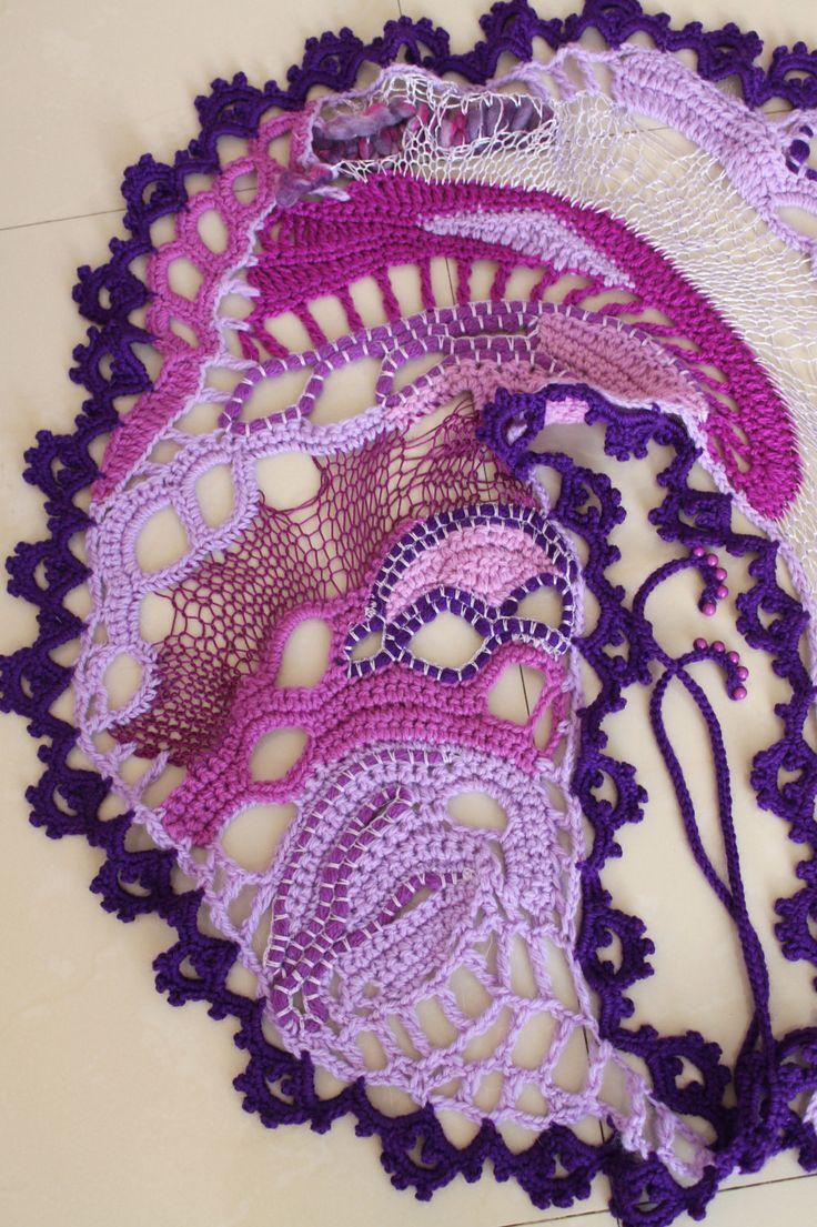 freeform crochet knitting scarf by levintovich