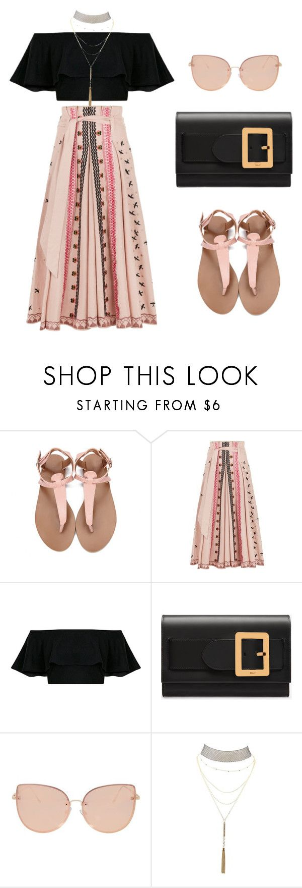 """Flat Sandals Contest"" by salbiylaazzara-fashion on Polyvore featuring Temperley London, Bally, Topshop and Charlotte Russe"