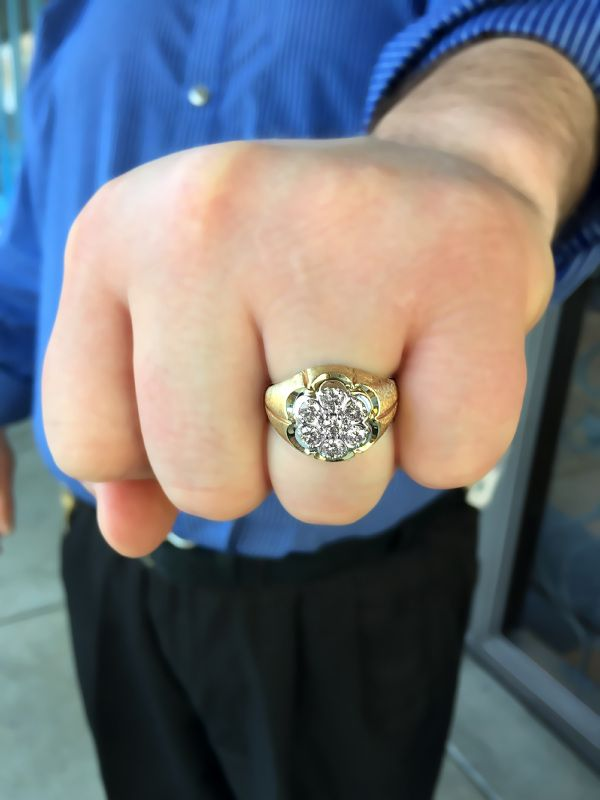 Mens Estate Gypsy Style Diamond Cluster Ring 1ctw 995