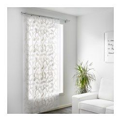 IKEA - ÅDERBLAD, Panel curtain, The pattern is slightly raised from the sheer background, creating a decorative play of light and shadow.A panel curtain is ideal to use in a layered window solution, to divide rooms or to cover open storage solutions.You can cut the panel curtain to the desired length without hemming it.