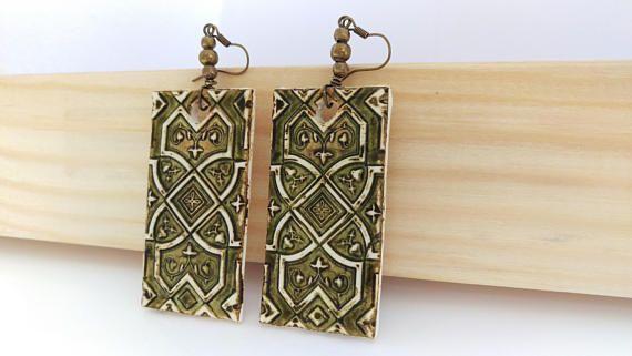 Polymer clay earrings Chandelier earrings Handmade earrings
