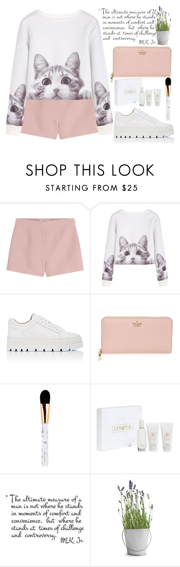 """""""Без названия #122"""" by lena-volodivchyk ❤ liked on Polyvore featuring Valentino, MM6 Maison Margiela, Kate Spade, Clinique and Potting Shed Creations"""