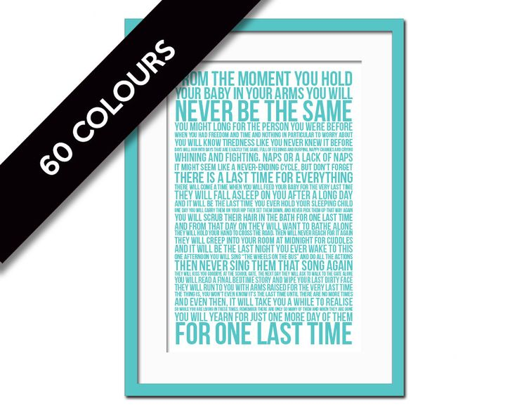 The Last Time Poem Art Print - Nursery Decor - New Parents Gift - Mothers Day…