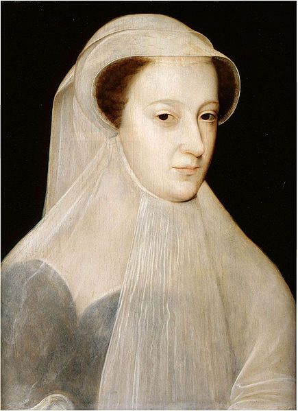 Mary Queen of Scots, aged 19, in white mourning to mark the loss of three members of her immediate family within a period of 18 months. Her father-in-law Henry II died in July 1559; her mother Mary of Guise died in Scotland in June 1560; and in December of the same year her husband Francis II died. Mary, no longer Queen of France, returned to Scotland in August 1561. Wearing white was the official sign of mourning worn by women of royal blood or high-ranking courtiers.