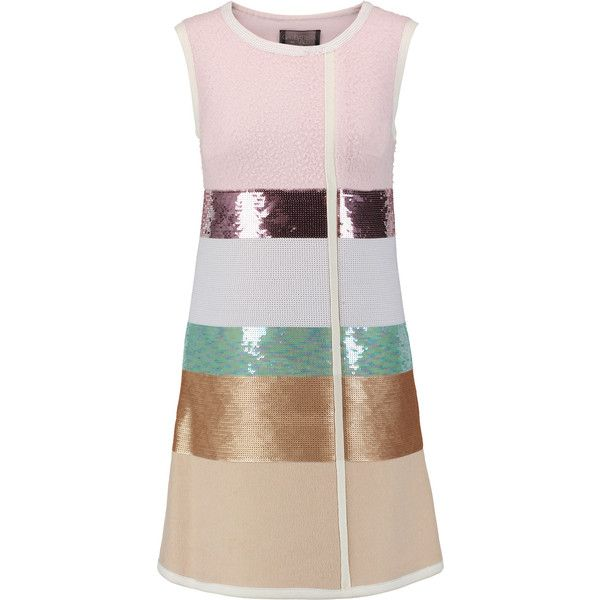 Giambattista Valli Color-block sequinned alpaca-blend and camel hair... (€1.090) ❤ liked on Polyvore featuring dresses, multi, colorblock dress, multicolored dress, multi-color dress, giambattista valli dress and sequined dresses