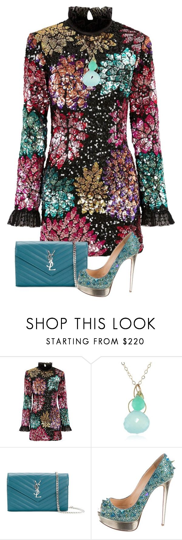 """""""Time to celebrate"""" by dlittlejohn ❤ liked on Polyvore featuring Millie Mackintosh, Melissa Joy Manning, Yves Saint Laurent, Christian Louboutin, Pumps, dress, bag and necklace"""