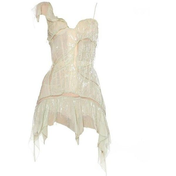 Preowned Roberto Cavalli Corset Dress Draped In Chiffon And Bead... ($4,400) ❤ liked on Polyvore featuring dresses, beige, cocktail dresses, sexy cocktail dresses, white fringe dress, white dress, white corset and corset dresses