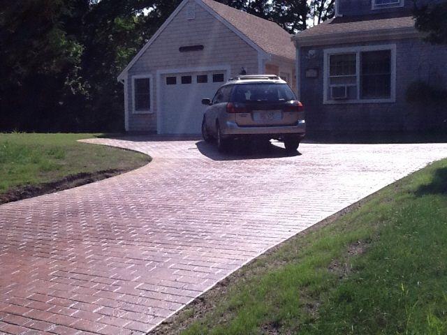 stamped concrete driveway,Cape Cod