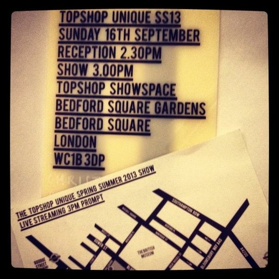 On to Topshop Unique! Thank goodness they included a handy map with the show invite.