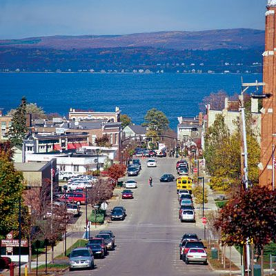 Petoskey, MI - one of our favorite places to go! We stay in Boyne then drive in to Petoskey. Water is beautiful blue and shops are nice. Golf courses are wonderful as well.