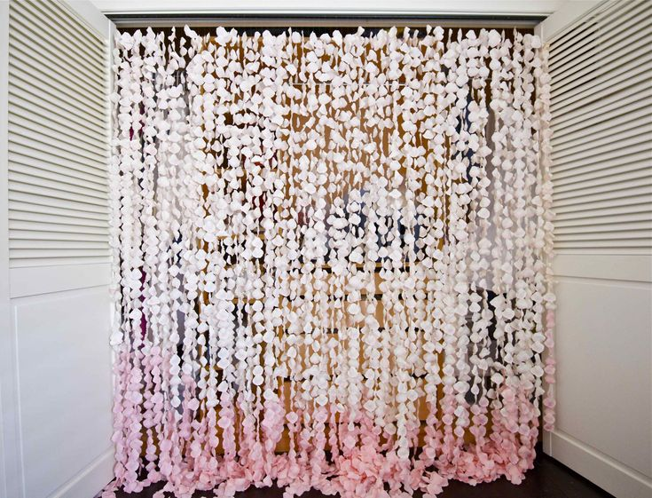 Color Us Impressed By Esther Kims DIY Petal Curtain Above Says I Made This As The Backdrop For My Wedding