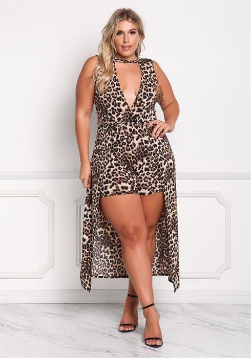$49.95---3X--- Leopard Plunge Maxi Romper