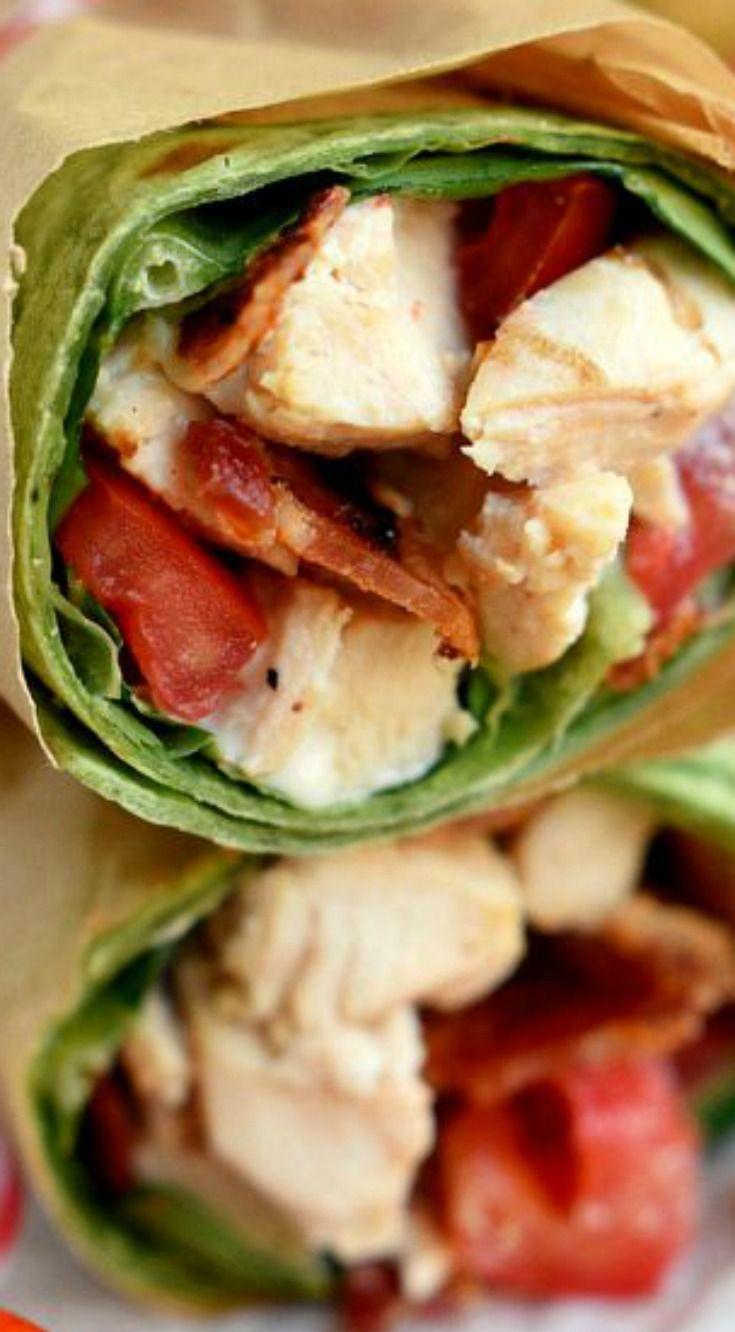 BLT Chicken Caesar Salad Wrap ~ This wrap has all the makings to become your new go-to recipe... Chicken, bacon, Caesar dressing, and tomato are wrapped up in an easy-to-make meal that is perfect for a light dinner or lunch.