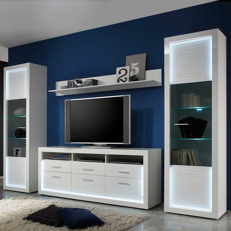 Design Wohnwand Mit LED Beleuchtung Hochglanz Weiss 3 Teilig Jetzt Bestellen Unter Moebelladendirektde Wohnzimmer Schraenke Wohnwaende Uid