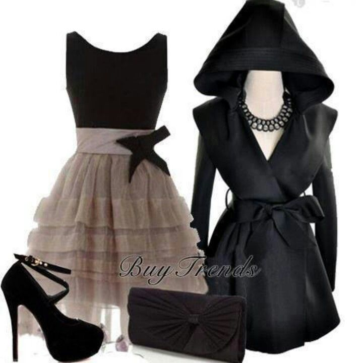 So very cute gray/black dress, coat & shoes!