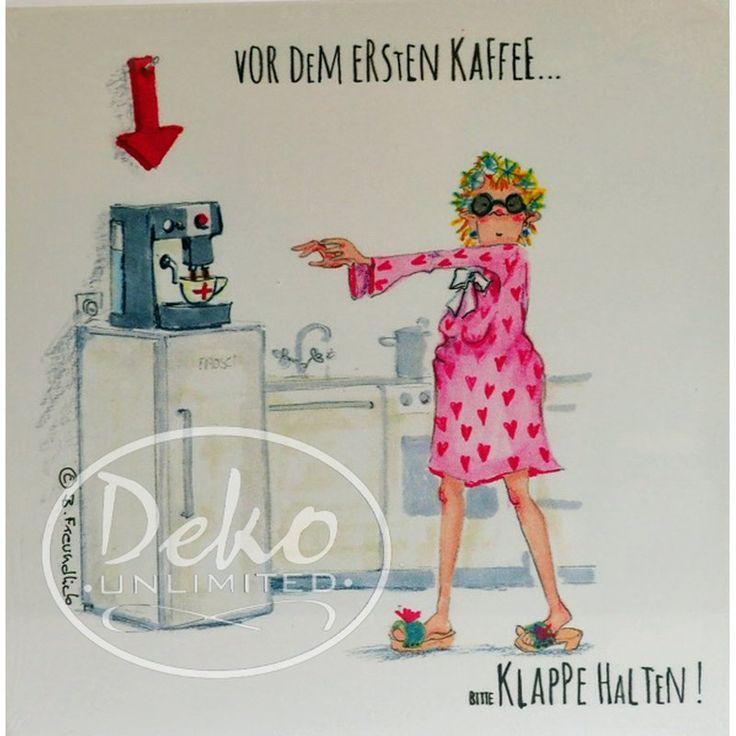 Holzbild - Barbara Freundlieb - VOR DEM ERSTEN KAFFE ... - Deko Unlimited - Exklusive Geschenke & Dekoration, 19,95 €