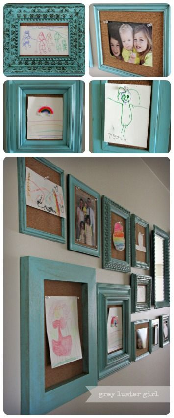 Gallery Wall with Blue Picture Frames. Great for displaying kids drawings and artwork! greylustergirl.com