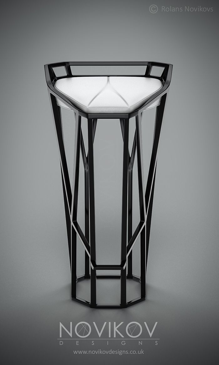 Octa Stool -Black high gloss frame with white leather seat by Novikov Designs www.novikovdesigns.co.uk
