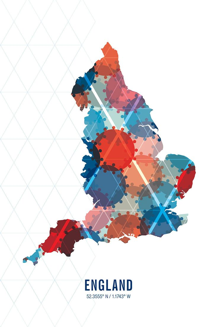 The England Map Print combines the countryu0027s