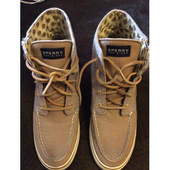Sperry High Tops Tan Sperry top siders.( NWOT)Worn twice, shoe still has the new smell, zero stains or odors. Size 8.1/2 in women's. This shoe is very comfortable, and leaves some wiggle room. Sperry Top-Sider Shoes Sneakers