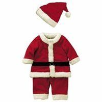 Детские Малыш Мальчики Рождественские Костюмы Рождество Деды Морозы Одежда Комбинезоны + Шляпа Косплей Экипировка