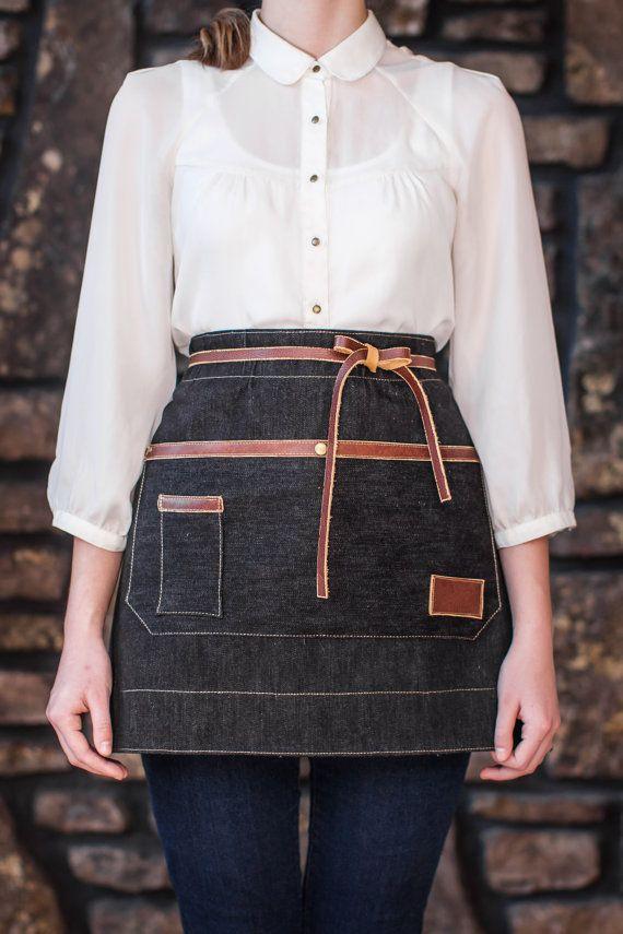 Black Denim and Leather Apron by AuthenticSundry on Etsy