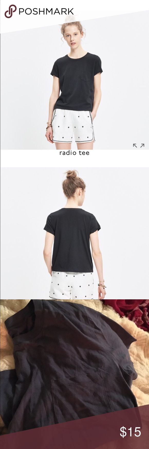 Madewell Radio Tee in Periwinkle Blue Blue soft crop Tee. Great condition. No visible holes or stains. True to size Madewell Tops Tees - Short Sleeve