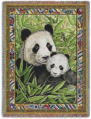 70x54 PANDA BEAR Mother & Cub Bamboo Wildlife Tapestry Afghan Throw Blanket