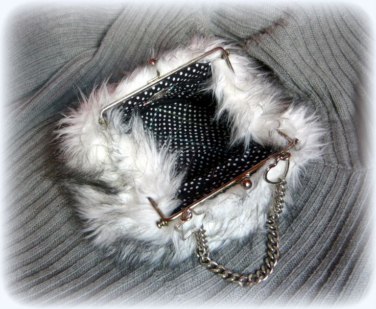Handmade by Judy Majoros- Faux fur clutch-evening bag. Recycled bag