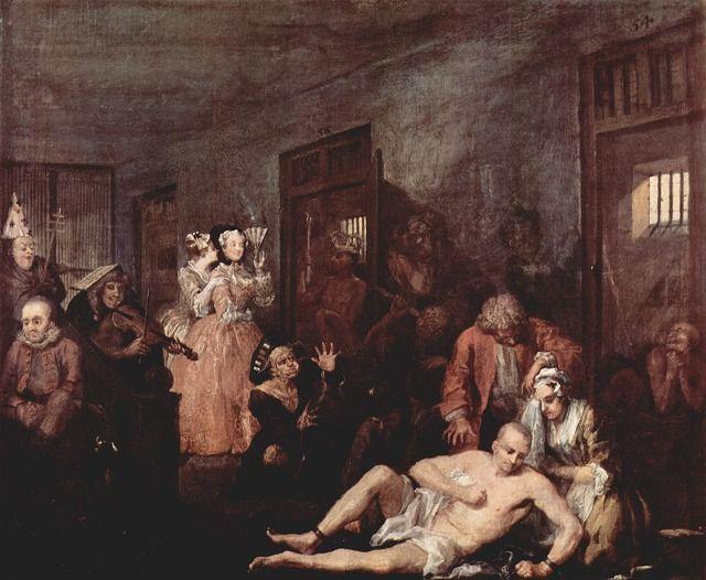 ホガース《精神病院》(油彩) 1733