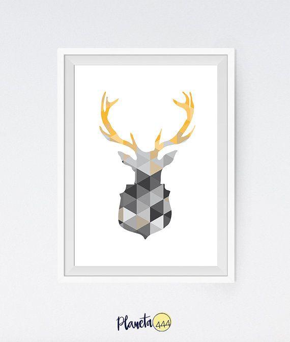 Geometric Minimalist Abstract Scandinavian Interior White Greys Yellow Deer Head Antlers Triangles Pattern Poster Prints Decor Art Design