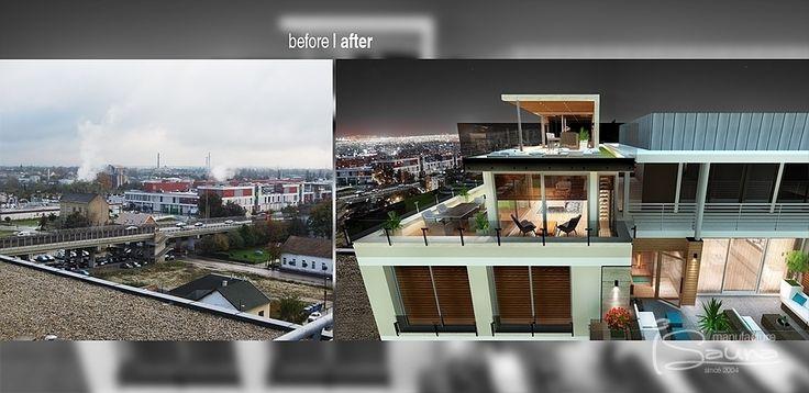 Sauna wellness roof terrace before-after