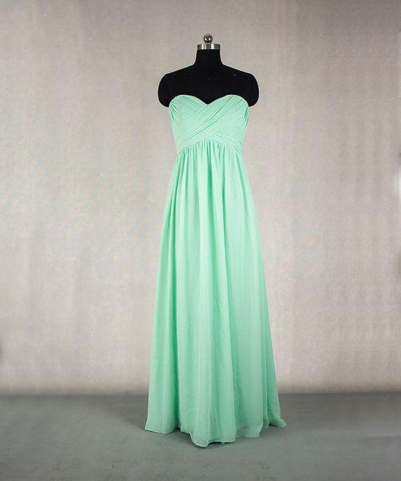 Langes MInt Brautjungfer Kleid a-line Sweetheart Chiffon Brautjungfer Kleid Prom Kleid