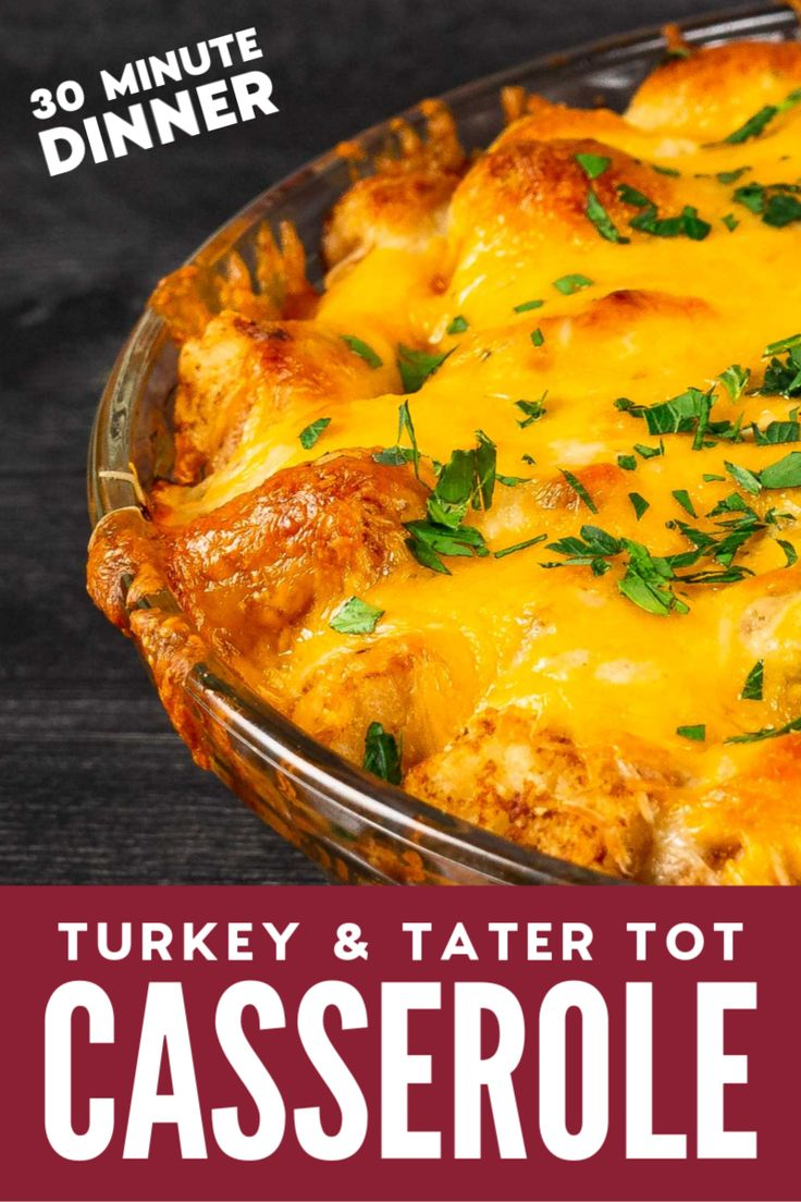 This easy, cheesy Tater Tot Casserole with Turkey ...