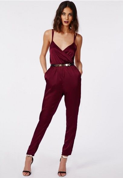 Maureen Silky Feel Strappy Wrap Jumpsuit Oxblood - Jumpsuits - Missguided