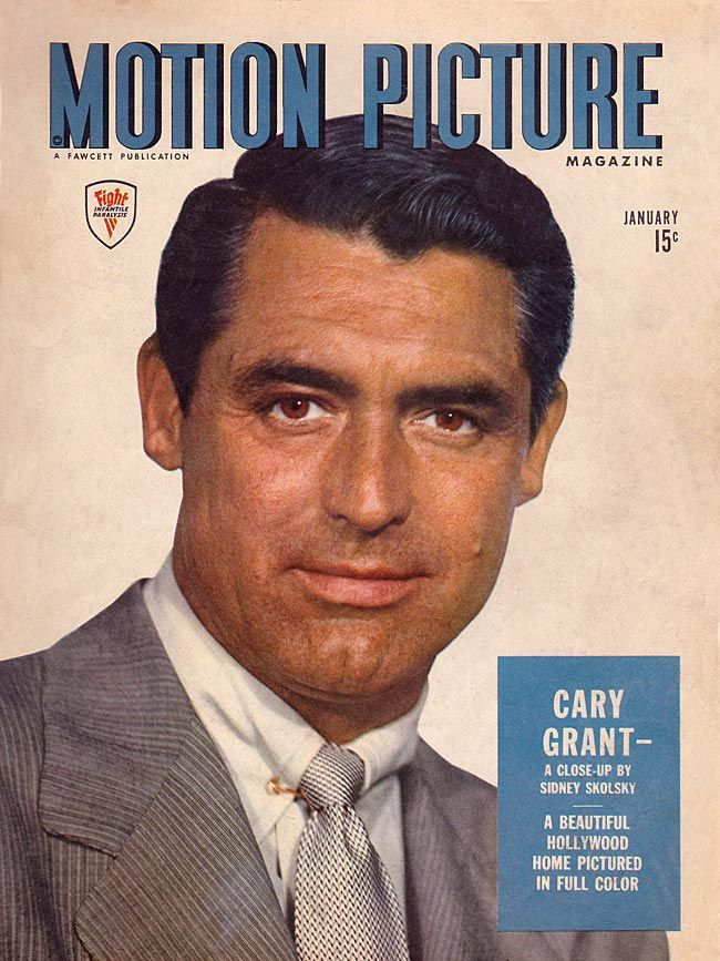 """Cary Grant on the cover of """"Motion Picture Magazine"""" USA, January 1945."""