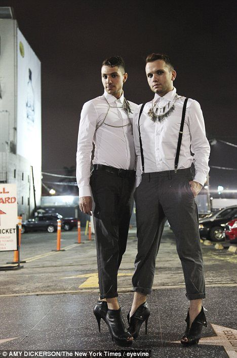 Mark Cramer, left, and Coy Barton choose to wear heels as they find the conventional offerings for men so dull. Far from drag, men are choosing heels for the same reason as women - to feel good