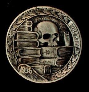 """Hobo Nickel """"The Wizard's Library"""" Skull by Howard Thomas"""